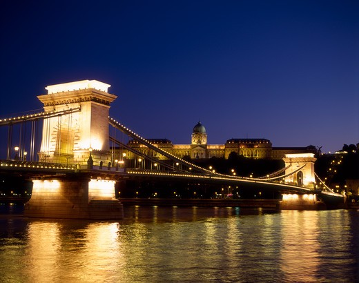Stock Photo: 4285-17261 Chain Bridge and Danube River at night with the Royal Palace in the background, Budapest, Hungary