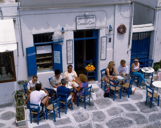 Outdoor Cafe at Mykonos, Cyclades, Greek Islands, Greece : Stock Photo