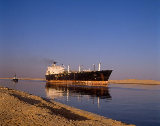 Ships Passing through Suez Canal, Suez, Egypt : Stock Photo