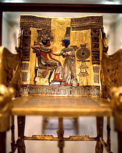 Stock Photo: 4285-17489 Tutankhamun Throne in the Cairo Museum, Cairo, Egypt