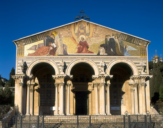 Stock Photo: 4285-17495 Church of Agony at Gethsemane, Garden of Gethsemane, Mount of Olives, Jerusalem, Israel