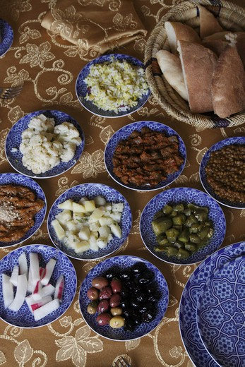 Stock Photo: 4285-18050 Africa, North Africa, Morocco, Fes, FŠs el Bal, Old Fes, Medina, Restaurant Ben Yamna, Dishes, Food