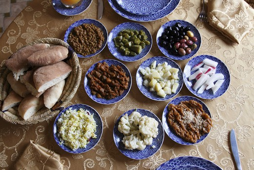 Stock Photo: 4285-18051 Africa, North Africa, Morocco, Fes, FŠs el Bal, Old Fes, Medina, Restaurant Ben Yamna, Dishes, Food