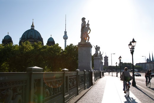 Germany, Berlin, Schloss Brcke, Palace Bridge, Berlin Cathedral, Berliner Dom, Fernsehturm, Television Tower, TV Tower, Statues : Stock Photo