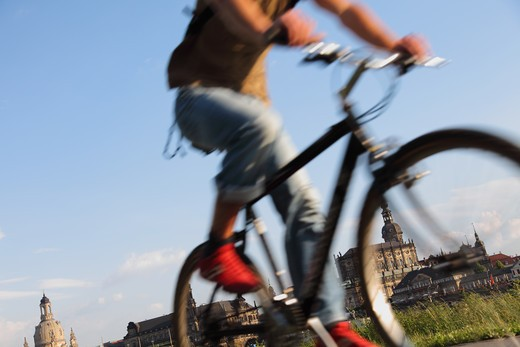 Germany, Saxony, Dresden, Old Town, Bike Riding along the River Elbe : Stock Photo