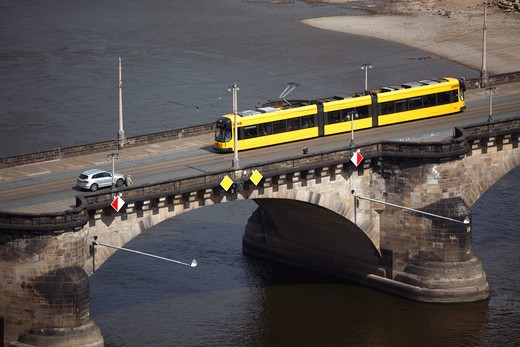 Stock Photo: 4285-18334 Germany, Saxony, Dresden, River Elbe, Augustusbrcke ( Friedrich-August-Brcke ), Augustus Bridge, Tram