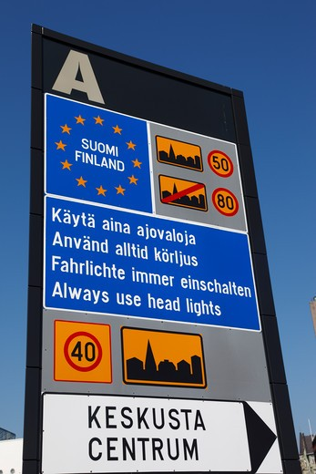 Stock Photo: 4285-18529 Finland, Helsinki, Helsingfors, Road Sign for Visitors Entering Finland