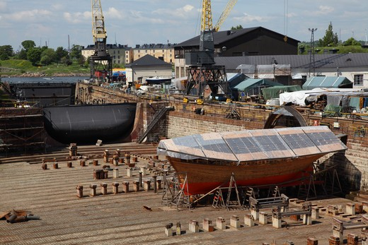 Stock Photo: 4285-18567 Finland, Helsinki, Helsingfors, Suomenlinna Island, Boat in Dry-dock at Suomenlinna Shipyard