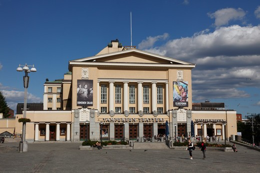 Finland, Region of Pirkanmaa, Tampere, City, Central Square, Neo-Classical Tampere Theatre : Stock Photo