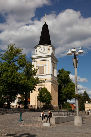 Stock Photo: 4285-18758 Finland, Region of Pirkanmaa, Tampere, City, Central Square, Neoclassical Old Church Bell Tower, Old Clock