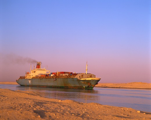 Stock Photo: 4285-18992 Egypt, Suez Canal, Cargo Ship