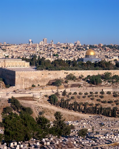 Stock Photo: 4285-19139 Israel, Jerusalem, Old City from Mount of Olives