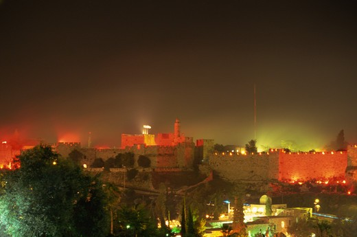 Stock Photo: 4285-19188 Israel, Jerusalem, Old City Wall, Fireworks
