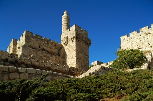 Stock Photo: 4285-19191 Israel, Jerusalem, Old City Wall, David's Tower, The Citadel