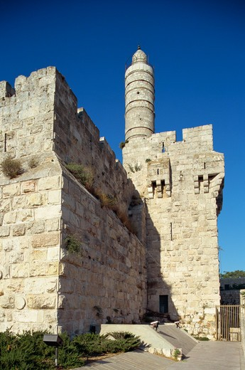 Israel, Jerusalem, Old City Wall, David's Tower, The Citadel : Stock Photo