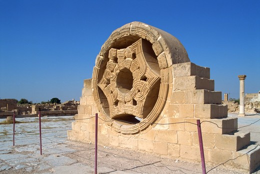 Stock Photo: 4285-19238 Israel, Jericho, Hisham Palace, Stone Carving