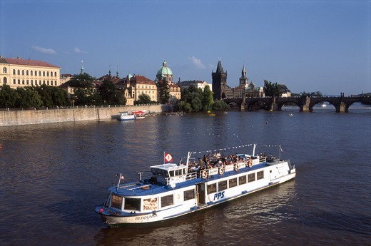 Czech Republic, Prague, Vltava River, Charles Bridge : Stock Photo