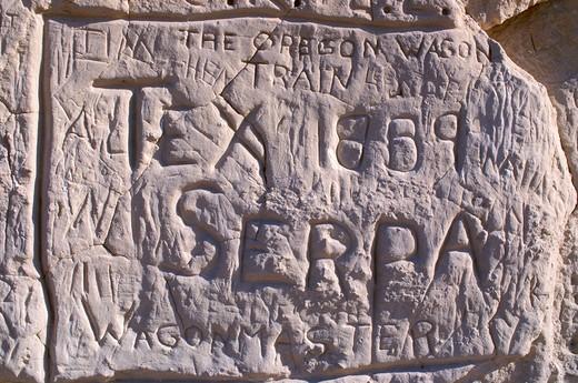 Stock Photo: 4285-1957 Pioneer inscriptions at Register Cliffs (National Historic Site) on the Oregon Trail near Guernsey, Wyoming