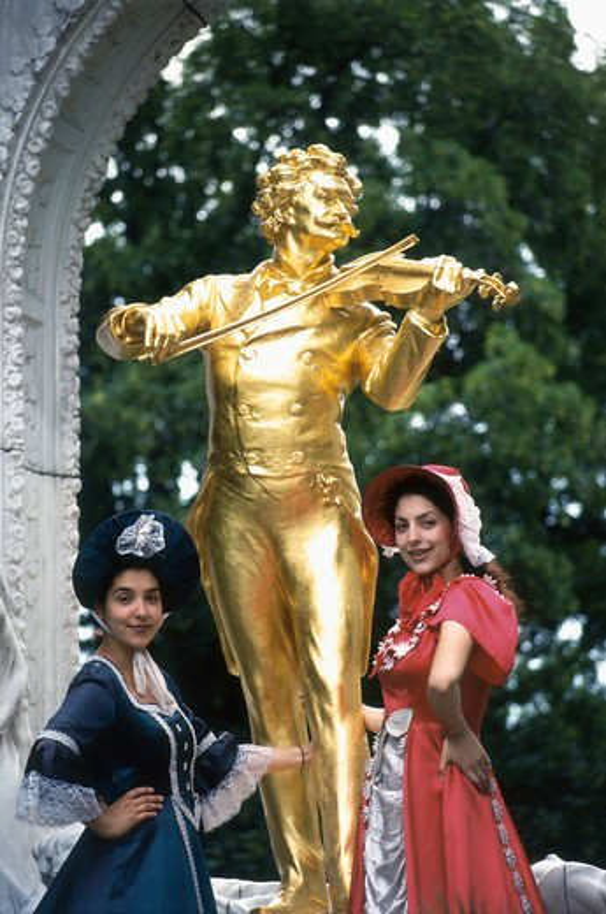 Austria, Vienna, Stadtpark, Johann Strauss Memorial Statue : Stock Photo