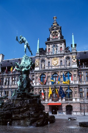 Belgium, Antwerp, Old Town, Market Square, Town Hall : Stock Photo