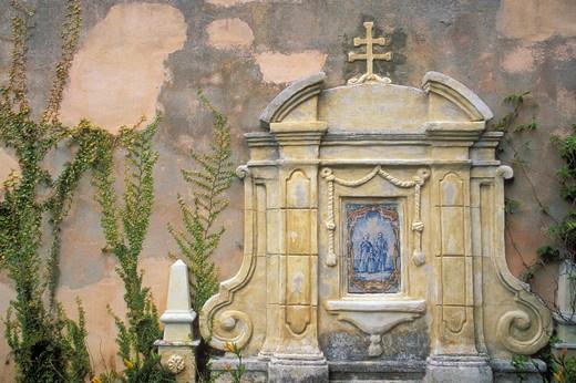 Stock Photo: 4285-2005 Shrine on the Basilica wall at Mission San Carlos Borromeo de Carmelo (2nd California Mission), Carmel, California