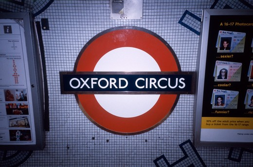 Stock Photo: 4285-20092 United Kingdom, London, Oxford Circus, Underground Station Sign