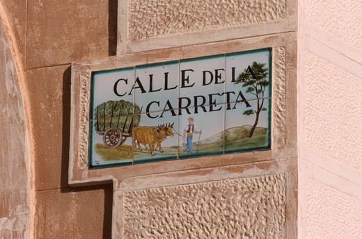 Stock Photo: 4285-20445 Spain, Catalonia, Sitges, Harbour Front, Sign