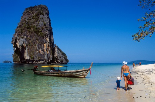Thailand, Krabi Province, Railay Bay and Beach, Mother and Child : Stock Photo