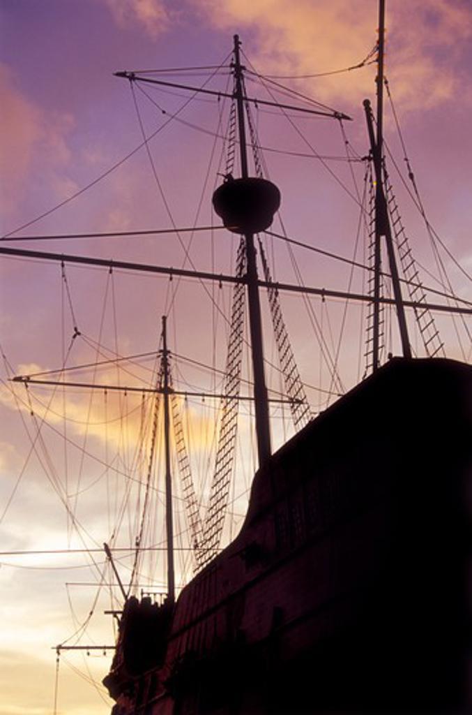 Malaysia, Melacka, Maritime Museum, Portuguese Sailing Ship : Stock Photo