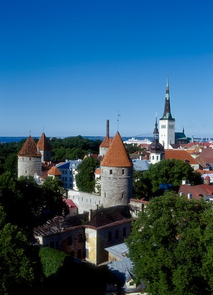 Stock Photo: 4285-22257 Oleviste Church, Old Town Wall, Tallinn, Estonia