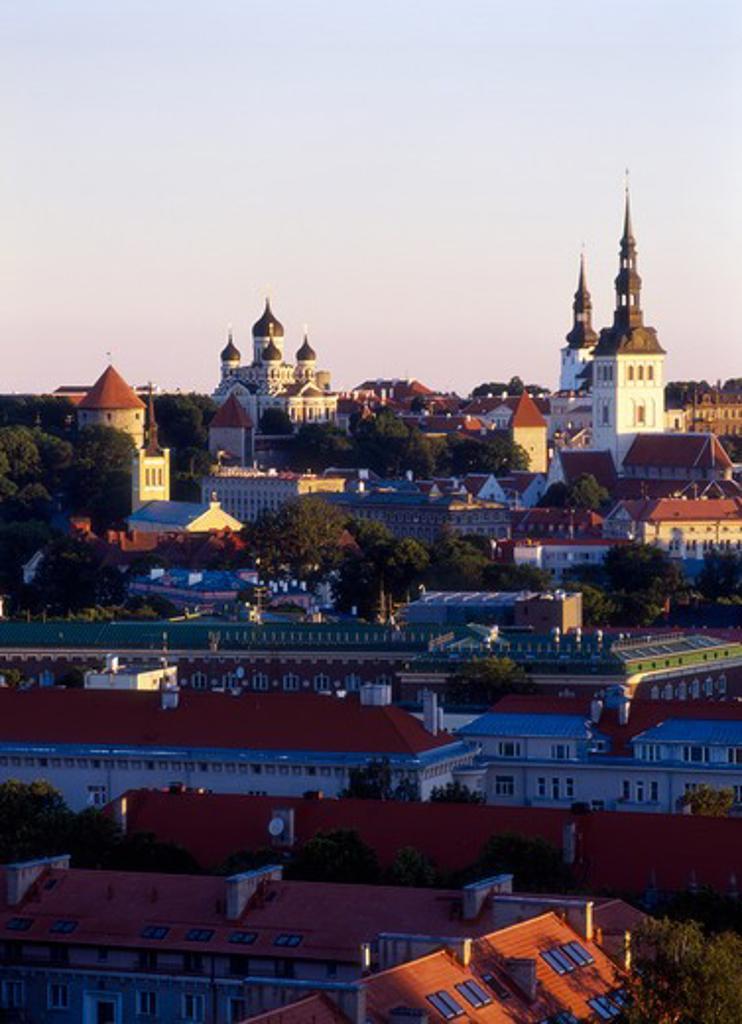 Stock Photo: 4285-22261 Skyline, St, Nicholas Church, Alexander Nevski Cathedral, Old Town, Tallinn, Estonia