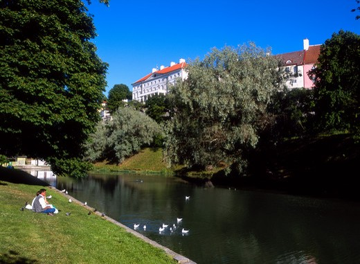 Toompea Fortress from Toompark, Snell Pond, Old Town, Tallinn, Estonia : Stock Photo