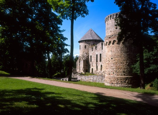 Cesis Medieval Castle, Cesis, Latvia : Stock Photo