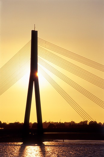 Sunset, Vansu Bridge, Daugava River, Riga, Latvia : Stock Photo