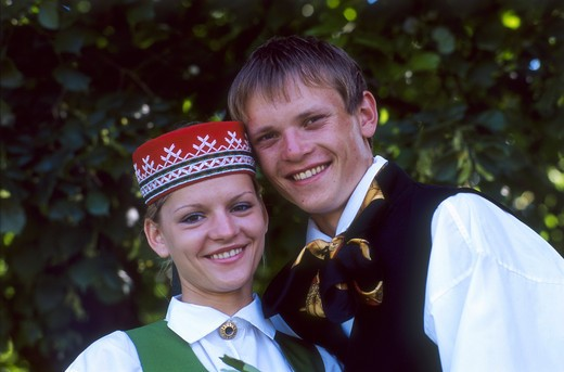 Couple, Traditional Folk Costumes, National Festival Parade, Riga, Latvia Model Release52-01, 02 : Stock Photo