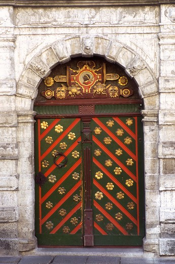 Stock Photo: 4285-22558 Brotherhood of Blackheads' Fraternity Hall Door, Old Town, Tallinn, Estonia