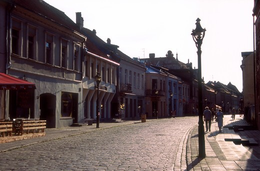 Stock Photo: 4285-22570 Cobble Stone Street, Vilnius Avenue, Old Town, Kaunas, Lithuania