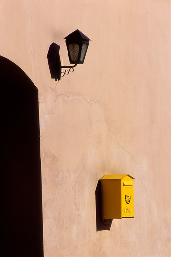 Stock Photo: 4285-22571 Mail Box, Lantern, Old Town, Kaunas, Lithuania