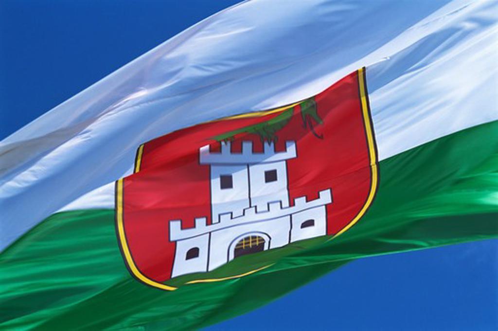 Slovenia, Ljubljana, Slovenian Flag : Stock Photo