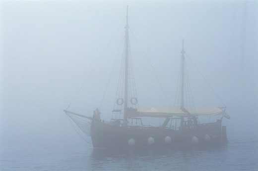 Stock Photo: 4285-22965 Croatia, Dubrovnik, Adriatic Sea, Harbour, Mist, Ship
