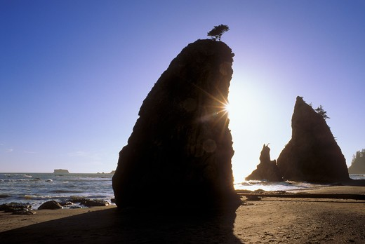 Stock Photo: 4285-2314 Silhouetted sea stacks and sunflair on Rialto Beach, Olympic National Park, Washington