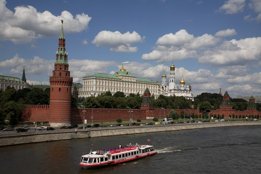 Russia, Moscow, The Kremlin, Moscow River, Tourist Boat : Stock Photo