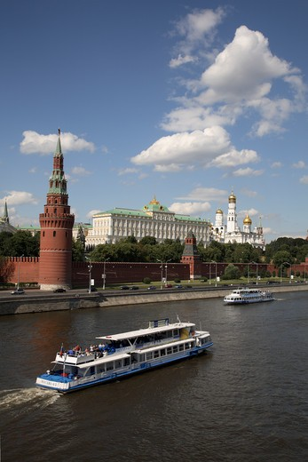 Russia, Moscow, The Kremlin, Moscow River, Tourist Boats : Stock Photo