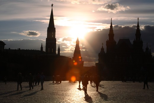 Stock Photo: 4285-23553 Russia, Moscow, Red Square, State History Museum, St Nicholas Tower, Sunset