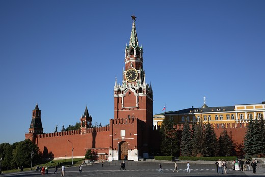 Russia, Moscow, Red Square, The Kremlin, Saviour Tower, Kremlin Wall : Stock Photo