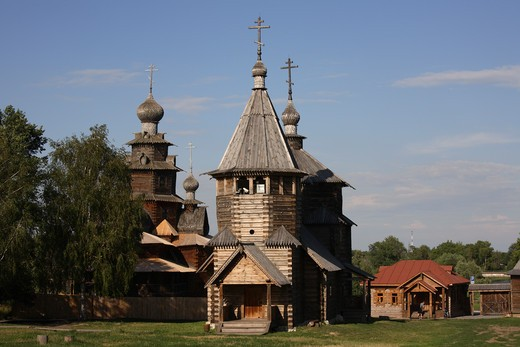Stock Photo: 4285-23793 Russia, Suzdal, The Museum of Wooden Architecture and Peasant Life, Resurrection Church, Transfiguration Church in background, Village of Kozliatyevo