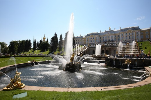 Stock Photo: 4285-23868 Russia, St Petersburg, Peterhof, Peter The Great's Palace, Petrodvorets, The Grand Cascade (Fountains)