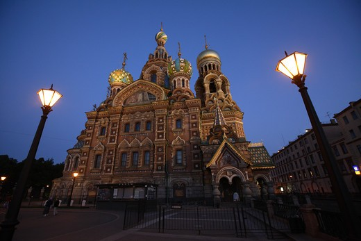 Stock Photo: 4285-23949 Russia, St Petersburg, Church of the Resurrection (Church on Spilled Blood), Floodlit