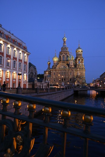 Russia, St Petersburg, Church of the Resurrection (Church on Spilled Blood), Griboedov Canal, Theatre Bridge, Floodlit : Stock Photo