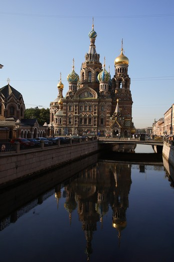 Stock Photo: 4285-23958 Russia, St Petersburg, Church of the Resurrection (Church on Spilled Blood), Griboedov Canal